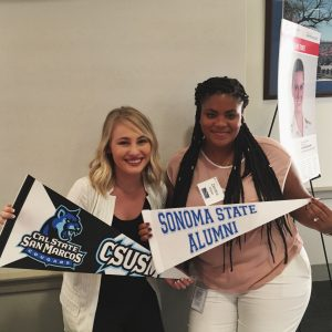 Interns Jessica Dockstader and Zenobia Walker celebrate during an internship event