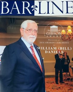 Professor Bill Daniels on the cover of BarLine magazine