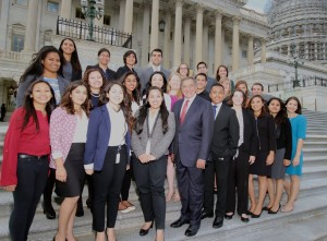 2015 interns with Secretary Panetta on the steps of the United States Capitol
