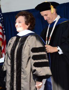Sylvia Panetta and CSUMB President Eduardo Ochoa