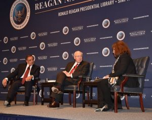 "Secretary Panetta, former Vice President Dick Cheney and CNN""s Barbara Starr onstage at Defense Forum"